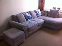 L shaped corner sofa with footstool containing storage space+ 5 cushions - Urgent sale