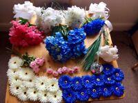 Huge pink blue and white artificial flower bundle wedding venue decorations