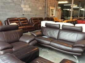 Brown leather sofa & chair