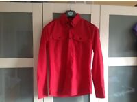 Boys red tab collar shirt by Fate of London.S.
