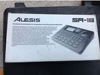 Alesis SR16 classic drum machine, boxed with manuals.