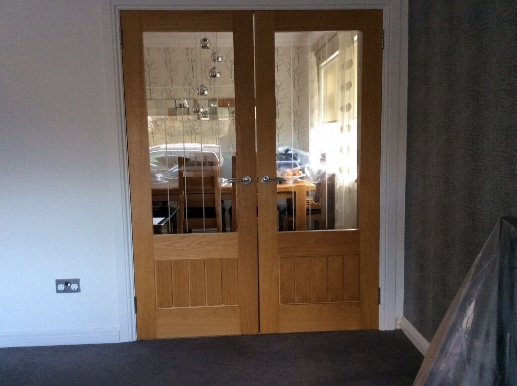 Oak half glazed internal double doors howden dordogne for Double glazed doors