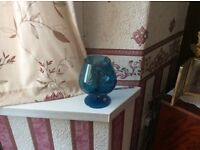 Retro brandy glass blue colour good condition buyer to collect any questions please ring