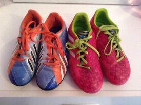 2 pairs of Adidas football boots
