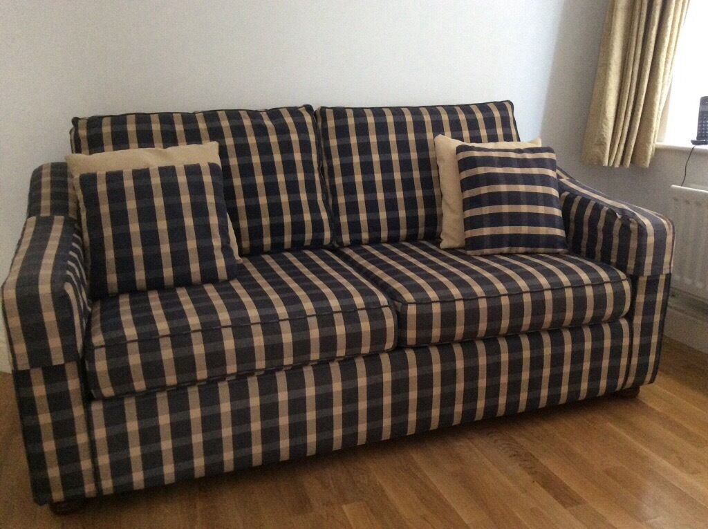 John Lewis Blue Checked Sofa Bed