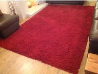 Large red shaggy rug - 2 x 2.9m