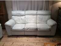 3 seater & 2 seater pale blue leather sofas