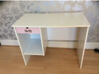 White melamine desk with drawer and file storage + free office chair