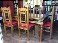 Attractive dining table X 6 chairs. 180x90x76cm. Made from sustainable, hardwood, mango.