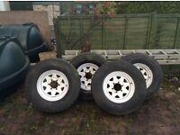 White 8 spoke wheels jap 6 stud