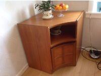 """Nathan""furniture corner unit teak solid wood,shelf and cupboard"