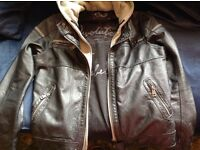Leather Jacket.Urban street wear or Motorbike/Scooter. Zipped Detachable Hood