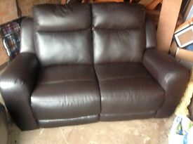 two seater leather recliner sofa and armchair