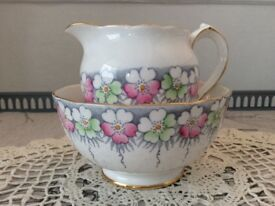 Roslyn Bone China Milk Jug and Sugar Bowl. Pink & Green Floral
