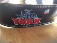 York leather padded weight lifting belt