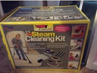 Small steam cleaner with accessories, brand new, still in box and never used.