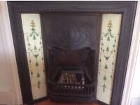 Victorian tiled cast iron fireplace