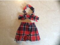 DOLL CLOTHES - Scottish qilt (fastens with existing velcroe) and matching scarf