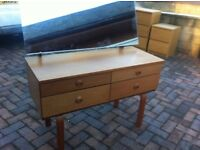 Vintage mid century Schrieber dressing table and mirror,
