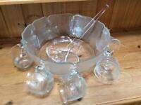 Vintage Arcoroc glass punch bowl