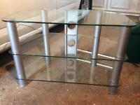 TV table 3 tier reinforced glass shelves