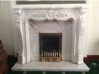 Italian marble fire surround , marble back & hearth included ,fire not included