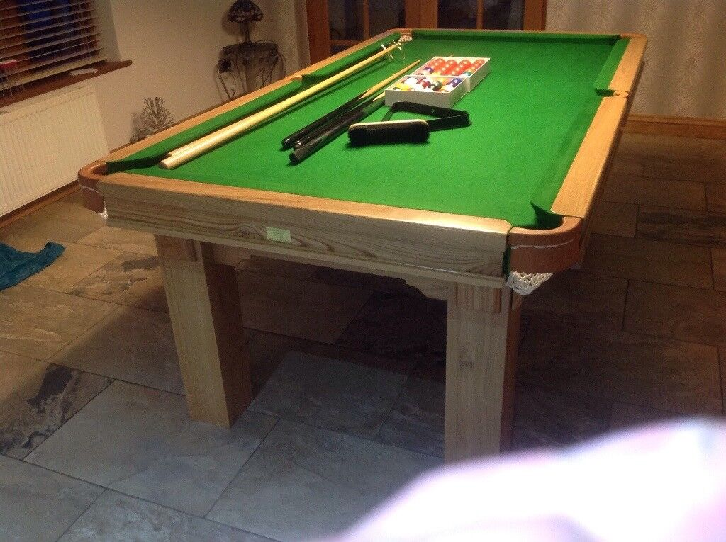 For Beautiful Solid Oak Snooker Pool Dining Table And 8 Chairs