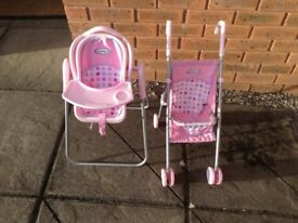 Girls play buggy and high chair