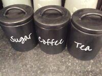 Tea coffee sugar black cannisters