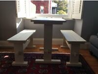 Shabby chic/distressed table with two benches in antique white