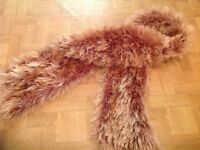 BROWN FLUFFY SCARF. EXCELLENT CONDITION.