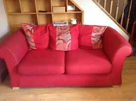 Sofa 2 seater red x2 plus matching single