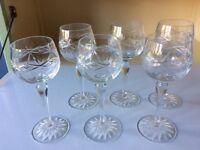 Set Of six long stemmed cut glass wine glasses
