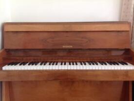 Mignon glossy walnut upright piano and piano stool