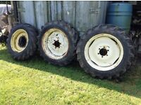Tractor Tyres & Rims, 2 x 11.2-28 (Semperit) and 1 x 11.2-24 (Goodyear).