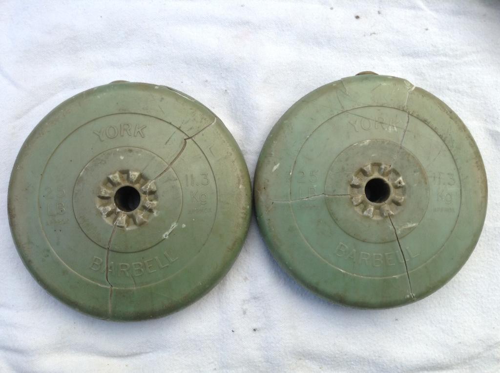 2 x 25lb (11.3kg) York Standard Vinyl Weights
