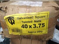 Galvanised square twisted nails 40 x3.75