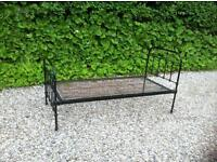 Single Bed - Classic Antique Black Iron Frame Bed