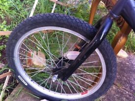 BMX without breaks. Black painted. Good tyres