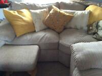Jumbo cord corner suite with armchair and footstool