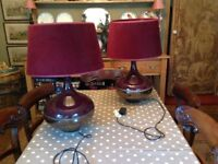 Pr two large table lamps