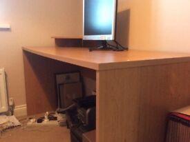 Desk and two drawer filing pedestal