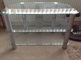 Clear Glass TV Stand, very good condition/very sturdy