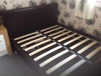Double bed brown faux leather