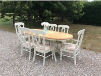 Shabby Chic Solid Pine Oval Extending Double Pedestal Dining Table and 6 Chairs in Farrow & Ball
