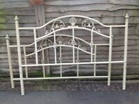 King size memory foam mattress in excellent condition with cream wrought iron bed