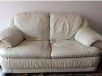 Real leather 2 seater sofas, beige colour