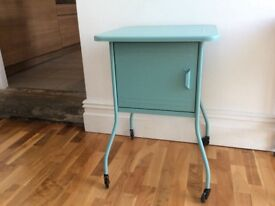 Metal bedside cabinet/table. Teal colour from IKEA.