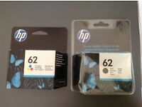 HP 62 tri colour and black ink cartridges, one of each