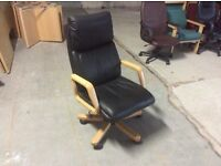 Leather look swivel chair